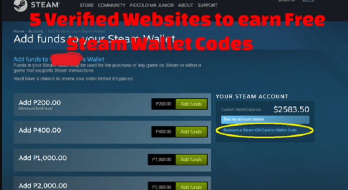 how to get free steam funds